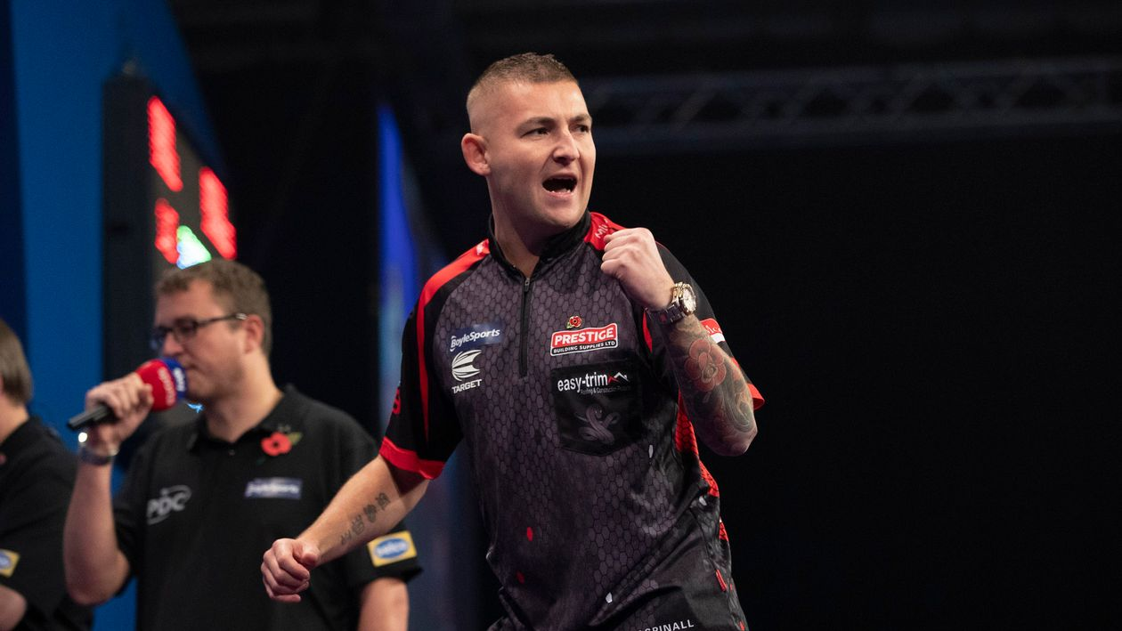 Nathan Aspinall in action in the Grand Slam of Darts