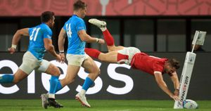 Hallam Amos had this diving try disallowed as Wales beat Uruguay in the Rugby World Cup