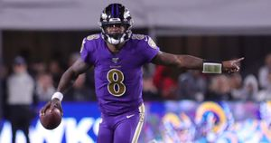 Baltimore Ravens quarterback Lamar Jackson in NFL action
