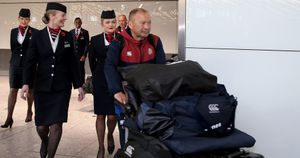 Eddie Jones returns home from the Rugby World Cup