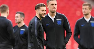 Jordan Henderson (right) with England and Liverpool teammate Adam Lallana