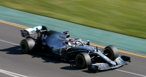 Lewis Hamilton in action in Melbourne