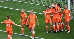 Netherlands Women celebrate at the Women's World Cup in France