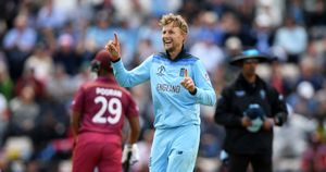 Joe Root celebrates taking a wicket for England in the World Cup