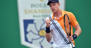Kyle Edmund celebrates a point at the Shanghai Masters