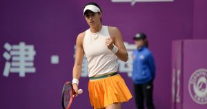 Caroline Garcia celebrates a point at the Tianjin Open