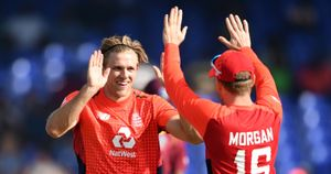 David Willey and Eoin Morgan celebrate