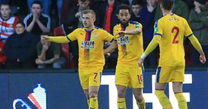 Crystal Palace celebrate Max Meyer's goal at Doncaster in the FA Cup