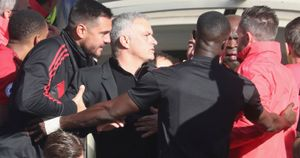 Tempers boil over with Jose Mourinho (centre) in Chelsea v Manchester United