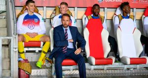 Gareth Southgate: England boss pictured in the dugout before the Euro 2020 qualifying defeat to Czech Republic