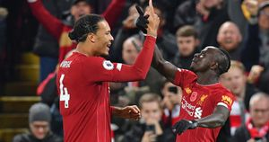 Sadio Mane and Virgil van Dijk celebrate for Liverpool against Man City