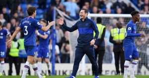 Frank Lampard: Chelsea boss celebrates the win over Newcastle with goalscorer Marcos Alonso