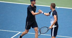 Jamie Murray, left, with doubles partner Neal Skupski