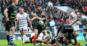 Cobus Reinach spins a pass during Northampton's defeat against Leicester