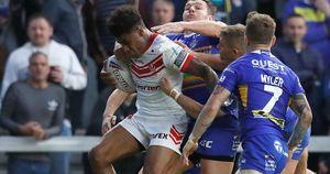 Kevin Naiqama in action for St Helens against Leeds Rhinos