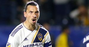 Zlatan Ibrahimovic celebrates after his stunning goal against New England