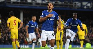 Dominic Calvert-Lewin celebrates scoring for Everton