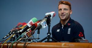 Jos Buttler of England speaks to the media