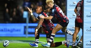 Nathan Hughes and Mat Protheroe: Celebrations for Bristol on the opening day of the Gallagher Premiership season