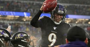Justin Tucker: Baltimore Ravens kicker celebrates victory over San Francisco 49ers
