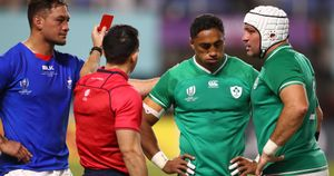 Bundee Aki is shown the red card