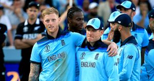 Ben Stokes and Eoin Morgan celebrate World Cup glory