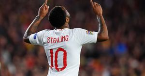 Raheem Sterling celebrates scoring for England