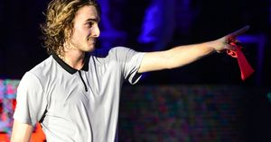 Stefanos Tsitsipas celebrates his Next Gen win in Madrid