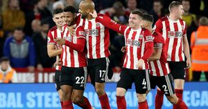 Sheffield United players celebrate