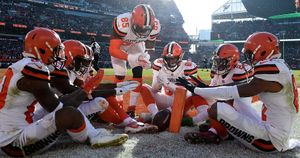 The Cleveland Browns celebrate scoring a touchdown in the NFL