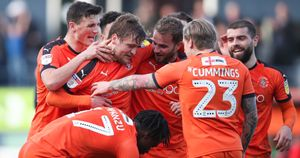 Luton Town celebrate Luke Berry's goal against Doncaster