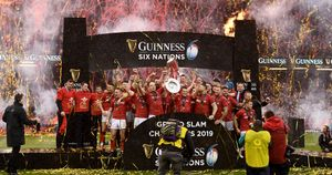 Wales celebrate their 2019 Grand Slam Six Nations success