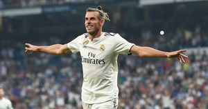 Gareth Bale celebrates scoring a goal for Real Madrid