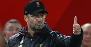 Liverpool manager Jurgen Klopp gives his thumbs up at Anfield