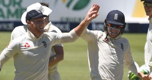 Ben Stokes celebrates during the fourth Test between South Africa and England