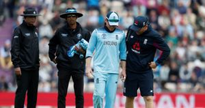 Eoin Morgan limps from the field