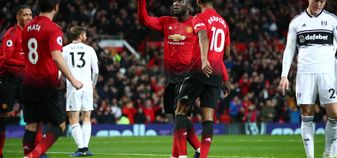 Romelu Lukaku celebrates his goal against Fulham