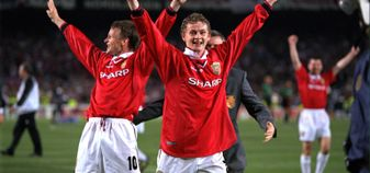 Ole Gunnar Solskjaer (centre) celebrates after Manchester United's UEFA Champions League success in 1999
