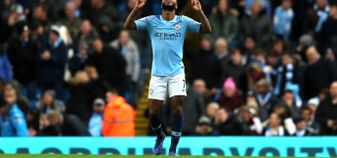 Raheem Sterling celebrates yet another goal against Bournemouth