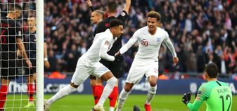 Jesse Lingard celebrates scoring for England against Croatia at Wembley