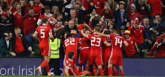 Wales celebrate after scoring against Republic of Ireland