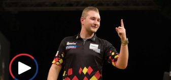 You can watch Dimitri van den Bergh's nine-darter below (Picture: Lawrence Lustig/PDC)