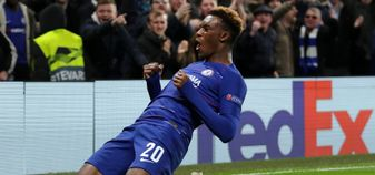 Callum Hudson-Odoi celebrates his first Chelsea goal