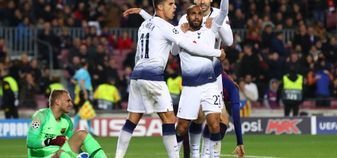 Lucas Moura celebrates after scoring against Barcelona