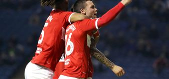 Middlesbrough players celebrate at Hillsborough