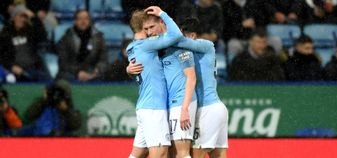 Kevin De Bruyne celebrates after scoring against Leicester