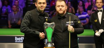 Ronnie O'Sullivan and Mark Allen before the UK Championship final