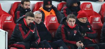 Jose Mourinho in the Anfield dugout