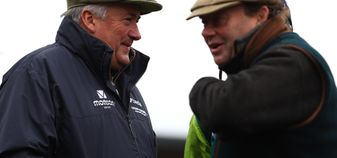 Paul Nicholls and Nicky Henderson chat ahead of the Newbury work