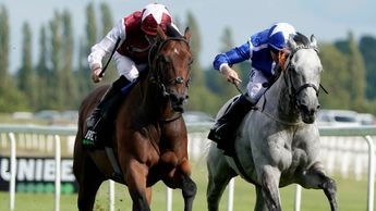 Glorious Journey (left) on his way to victory at Newbury